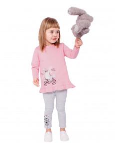 """Комплект серо-розовый лосины и туника """"Заяц на велосипеде"""""""