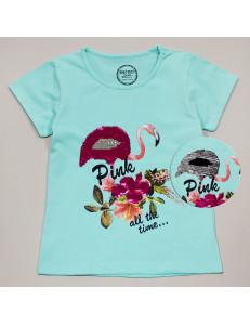 """Футболка ментолового цвета для девочек с пайетками-перевертышами """"Фламинго"""""""