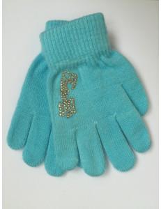 Перчатки осенние голубого цвета с золотыми стразами