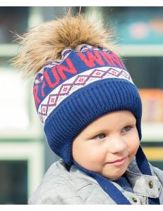 """Шапка зимняя для мальчиков синего цвета с помпоном """"веселая зима"""""""