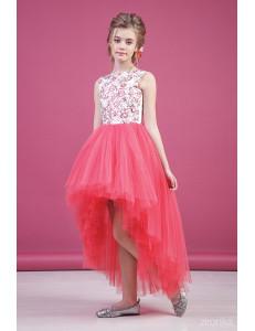"""Платье нарядное коралловое для девочек со шлейфом и блестками """"Балет"""""""